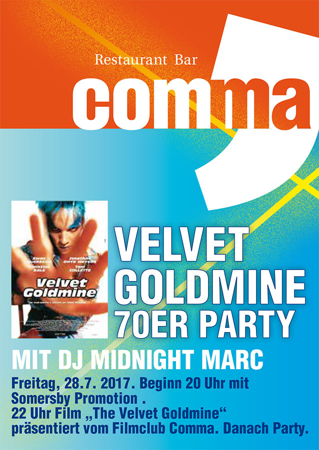 """Velvet Goldmine"" 70er Party mit DJ Midnight marc"